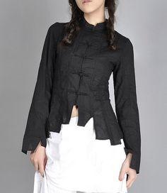 Plait Buttons Irregular Hem Shirt