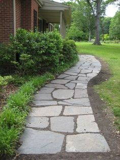 How To Lay A Slate Walkway For Instant Cottage Curb Appeal | Young House Love @ its-a-green-life