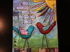 """Items similar to Mixed media Canvas Long Legged Birds """"Every love story is beautiful but Ours is my favorite"""" on Etsy Collage Art Mixed Media, Mixed Media Canvas, Art Journal Inspiration, Painting Inspiration, Bird Canvas, Canvas Art, Art Journal Pages, Art Journaling, Color Me Beautiful"""