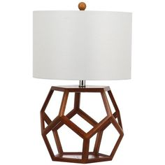 Safavieh Delancy Geometric Table Lamp ($165) ❤ liked on Polyvore featuring home, lighting, table lamps, geometric lamp, white lights, safavieh table lamps, white lamp and safavieh lamps
