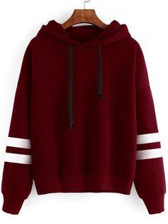 Varsity Striped Contrast Open Shoulder Sweatshirt