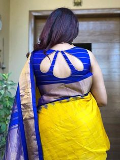 A Completely Last Minute Rakshabandhan Outfit Idea:-Awesomelifestylefashion - terrariumworld Indian Blouse Designs, Blouse Back Neck Designs, New Saree Blouse Designs, Fancy Blouse Designs, Sari Design, Designer Kurtis, Designer Sarees, Sari Blouse, Design Set