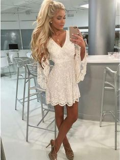 Outlet Nice A-Line Homecoming Dresses, White Lace Party Dresses, Homecoming Dresses White, V-Neck Party Dresses Lace Party Dresses, Cute Dresses, Lace Dress, White Dress, White Lace, White Chiffon, Party Gowns, Coat Dress, Dress Red