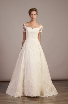 Liancarlo 5883 - French Alencon and Chantilly lace A-line gown with shirt lace sleeves - Available at Julian Gold Bridal