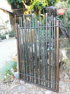 Bamboo gate idea - nicely done with the gunmetal steel colored paint