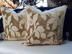 Tan and Cream Donghia Leaf Print Pillow 24x24 by AccentMarks