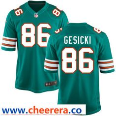 191ae13d70a Men s Miami Dolphins  86 Mike Gesicki Aqua Green Alternate Stitched NFL  Nike Game Jersey