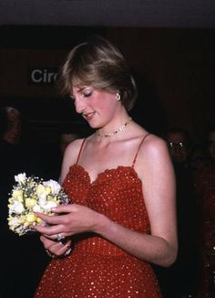 A photo of Lady Diana Spencer taken shortly before her marriage to Prince Charles. Red and gold were her theme colors for the premiere of the film For Your Eyes Only in 1981.
