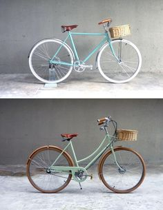Green Bicycle With Basket