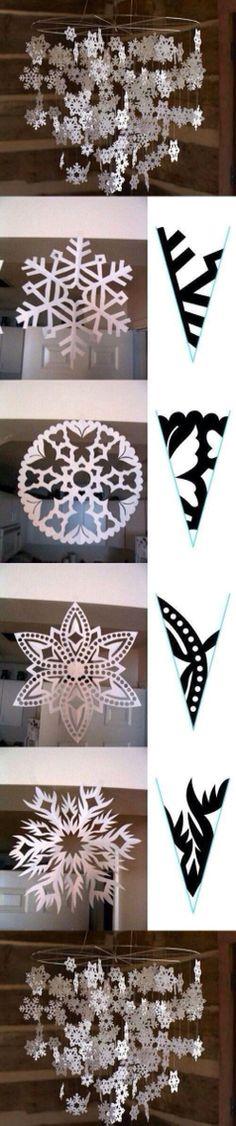 Cute DIY snowflake chandelier idea. Can spray paint a hula hoop silver metallic as the base