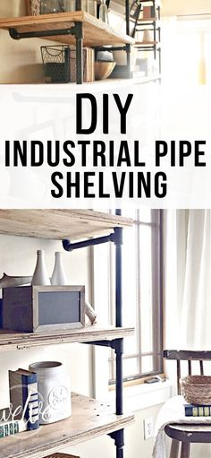 How to build DIY industrial pipe shelves!  Follow this step by step tutorial and build your own! Diy Projects For Bedroom, Easy Wood Projects, Diy Furniture Projects, Easy Woodworking Projects, Woodworking Plans, Project Ideas, Wood Furniture, Handmade Home Decor, Diy Home Decor