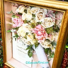 Wonderful preserved bouquet in a custom shadow box. Check out our website www.keepsakefloral.com . We would love to create a keepsake for you!! #floralpreservation #keepsakefloral