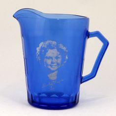 Hazel Atlas Original Shirley Temple Cobalt Blue Milk Pitcher Creamer Depression Glass Vtg