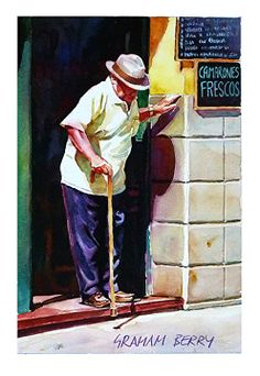 """Careful step by Graham Berry Watercolor ~ 12"""" x 8"""""""
