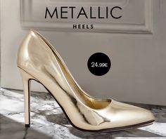 Οι πιο stylish γόβες σε μεταλλικό χρυσό Μόνο με 24.99€ Metallic Heels, Stiletto Heels, Shoes, Fashion, Moda, Zapatos, Shoes Outlet, Fashion Styles, Shoe
