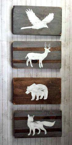 Woodland Nursery Decor Reclaimed Wood Set Tribal by RusticLuvDecor