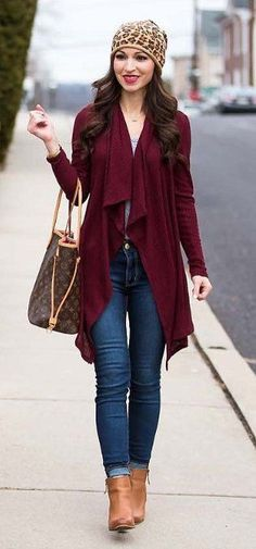 / Leopard Beanie / Burgundy Coat / Navy Skinny Jeans / Brown Leather Booties Fashion leather articles at 60 % wholesale discount prices Casual Outfits, Cute Outfits, Fashion Outfits, Womens Fashion, Fashion Hats, Fashion Top, Fashion Edgy, Cheap Fashion, Fashion Styles