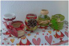Le mie creazioni di oggi: vasetti in vetro decorati e trasformati in porta candele!