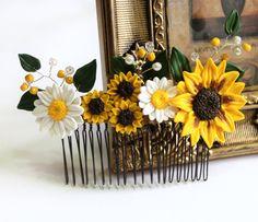 Sunflower Hair Comb Sunflower Wedding Large by NikushJewelryArt
