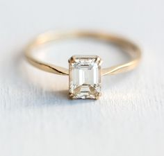 Looking Glass Ring, White Diamond, 1.03 carat emerald cu, 14k yellow gold, double prong, clean ring, simple ring, timeless engagement ring, handmade jewelry, made in USA, classic ring, engagement ring