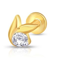 Contemporary nose pin with screw back, having a modern shape and studded with a bright beautiful diamond at the center. ,Gold & Diamond Nose Stud For Girls & Women. 18K/14K Gold With Certified Diamonds. Door Delivery
