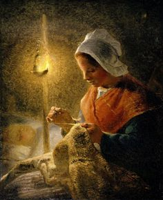 Jean-Francois Millet. Woman Sewing by Lamplight.