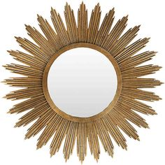 The contemporary Surya Sunburst wall mirror delivers the modern living room an enticing accessory. Surrounding a round center of beveled glass, an aged gold frame provides geometric texture and glamorous allure. White Wall Mirrors, Rustic Wall Mirrors, Contemporary Wall Mirrors, Round Wall Mirror, Mirror Set, Diy Mirror, Round Mirrors, Mirror Ideas, Gold Wall Decor