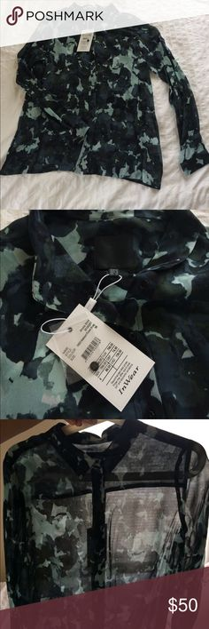 IN WEAR sheer modern camo button up blouse European brand IN WEAR, muted blue/green sheer abstract cameo blouse. Beautiful midnight blues, sea foam green, and hunter grey colonies. NWT, size 36/8 (small 8). Wear with a black cami underneath and pencil skirt for a modern take on a classic look. In Wear Tops Blouses