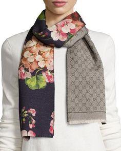 Gucci Miniorophin Floral & Logo Wool Scarf, Blue/Pink