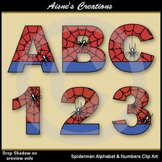 Spiderman Alphabet Letters & Numbers Clip Art by AisnesCreations