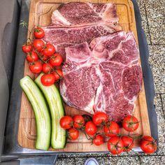 Start grill season 🥩  #steak #t-bone #steaklunch #lunch #lunchideas #tomatoes #zucchini #grill #grilling #grilldesign #webergrill T Bone Steak, Weber Grill, Grill Design, I Foods, Tomatoes, Zucchini, Grilling, Lunch, Meat