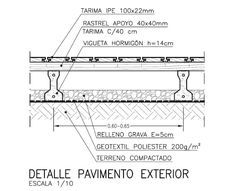 Detalle paviemento exterior madera Architecture Details, Modern Architecture, Construction Drawings, Flat Roof, Technical Drawing, Civil Engineering, Autocad, Urban Design, Deck