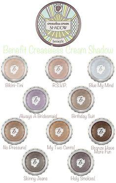 Benefit Cosmetics Creaseless Cream Shadows #LashBash Hostess Receives Bikini-Tini and Bronze Have More Fun