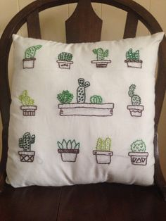 Embroidered Cactus Pillow by craftycollegegirly on Etsy