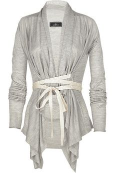 Draped silk cardigan-have this in cotton knit maybe I should add some ribbon for closure and definition like this one?