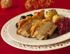 This is a Norwegian traditional dish around Christmas...it is pork... they call it Ribbe