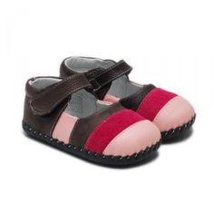 Chaussons bébé cuir Marron Rayé