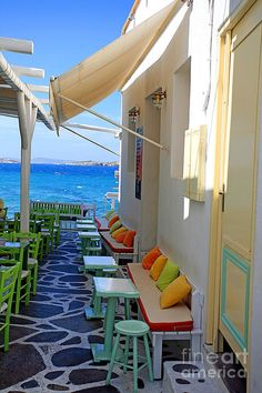 Seaside cafe, Mykonos Greece My boys are Greek so this is definitely on the list! Places Around The World, Oh The Places You'll Go, Places To Travel, Places To Visit, Around The Worlds, Wonderful Places, Beautiful Places, Voyager C'est Vivre, Seaside Cafe