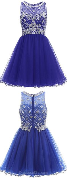 Blue Homecoming Dresses, Short Prom Gowns, Beading Party Dresses, Elegant Cocktail Dresses, Girls Cocktail Dress, Simple Graduation Dresses