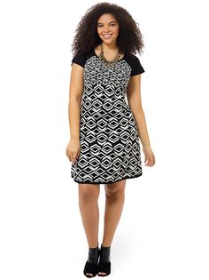 Black & Ivory Printed Sweater Dress by Taylor Dresses, Available in sizes 1X-3X