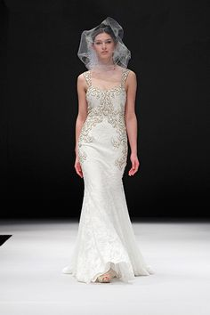 Badgley Mischka Spring 2015 Bridal Collection. wedding dress. floral. romantic. Lace gold.
