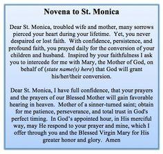 Novena to St Monica Faith Prayer, Prayer Book, My Prayer, Prayer Quotes, Bible Quotes, Qoutes, Santa Monica, Novena Prayers, Catholic Prayers