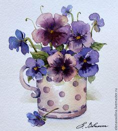 Купить Анютины глазки - фиолетовый, цветы ручной работы, цветы, картина, акварель, анютины глазки