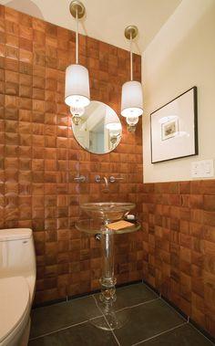 glass pedestal sink Powder Room Traditional with bathroom mirror bathroom tile