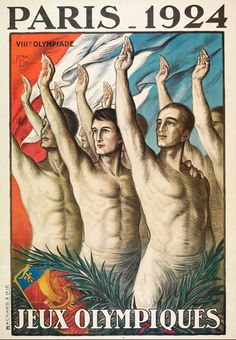 This vertical French exhibition poster features a group of bare chested men holding up their right hands with a flag behind them. The beautiful Vintage Poster Reproduction is perfect for an office or living room. Olympiques Paris 1924 by J.