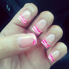 French tips with pink animal print