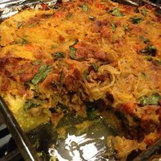 Spaghetti Squash Pie  Allrecipes.com  Mix sauce mix with eggs..add cheese