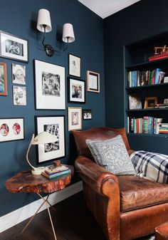 Cozy reading nook with great gallery wall - love the Hague Blue walls