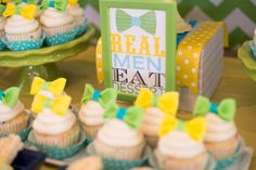 real men eat dessert bowtie cupcakes for first birthday party Boys 1st Birthday Party Ideas, First Birthday Parties, 1st Birthdays, Real Men, Cupcakes, Eat, Desserts, Tailgate Desserts, Cupcake Cakes