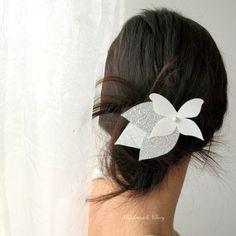 Pince mariage papillon et feuilles barrette féerique coiffure